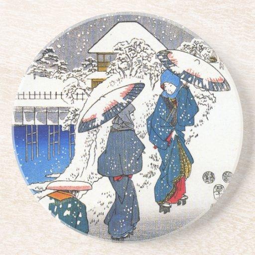 Dos señoras que conversan en la nieve, Ando Hirosh Posavasos Manualidades