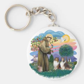 Dos Shelties - St Francis (ff) Llavero Redondo Tipo Pin