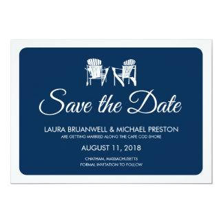 Dos sillas de Adirondack ahorran la fecha Invitación 12,7 X 17,8 Cm