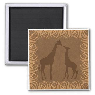Dos siluetas de la jirafa (tema del safari) imán cuadrado
