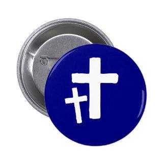 Dos símbolos cruzados blancos en azul