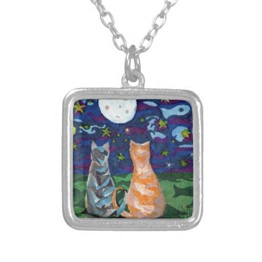 Dos sueños del gato del arte colgante cuadrado