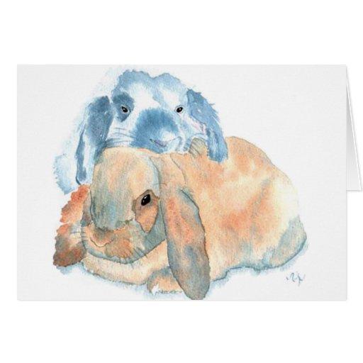 Dos tarjetas de felicitación de los conejos