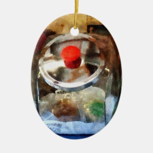 Dos tarros de galletas de cristal adorno ovalado de cerámica