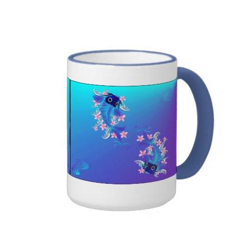Dos tazas azules de Koi