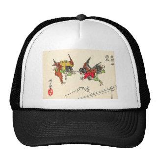 Dos Tengu que choca. Fondo del monte Fuji, C. 1882 Gorros Bordados