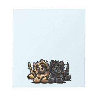 Dos terrieres de mojón bloc de papel