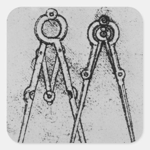 Dos tipos de compás de la ajustable-abertura pegatina cuadrada
