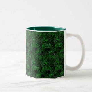 Dos-Tono 11oz (verde). Taza con los girasoles
