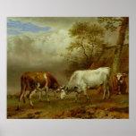Dos toros con los cuernos bloqueados, 1653 póster