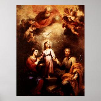 Dos Trinities - la familia santa - Murillo Póster