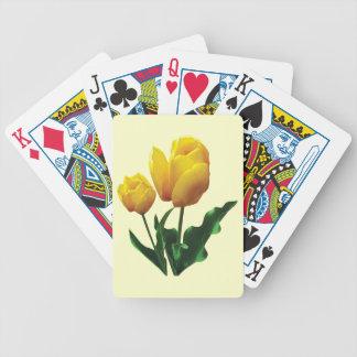 Dos tulipanes amarillos baraja de cartas bicycle