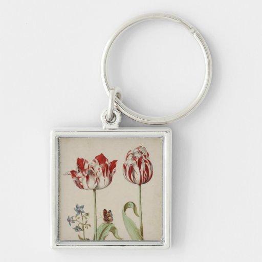 Dos tulipanes llaveros personalizados