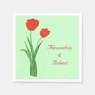 Dos tulipanes rojos personalizados casando servill servilletas desechables