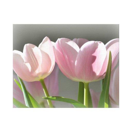 Dos tulipanes rosados impresión en tela