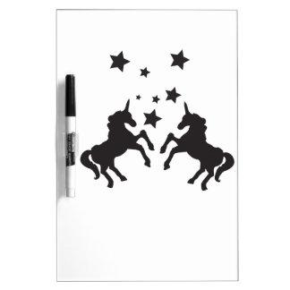 Dos unicornios pizarra blanca