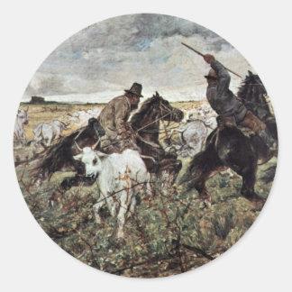Dos vaqueros con la manada de Bull de Fattori Juan Pegatina Redonda