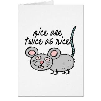 Dos veces tan Niza ratones Tarjeta De Felicitación