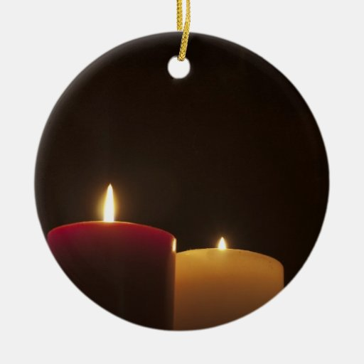 Dos velas adorno navideño redondo de cerámica