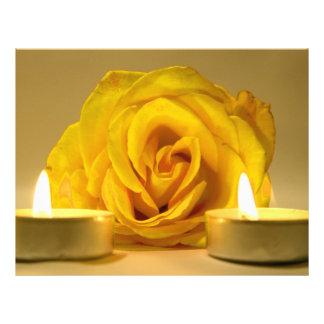 dos velas color de rosa de flor amarilla brillante tarjetas publicitarias
