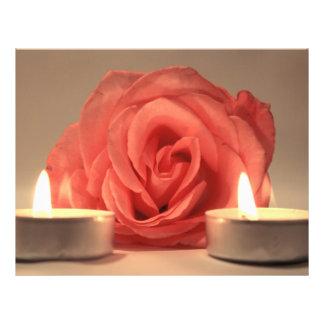 dos velas color de rosa de foto floral del rosa tarjeta publicitaria