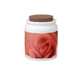 dos velas color de rosa de foto floral del rosa platos para caramelos