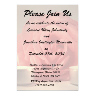 dos velas color de rosa de foto floral del rosa invitación personalizada