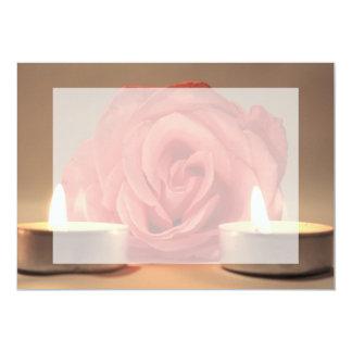 """dos velas color de rosa de foto floral del rosa invitación 5"""" x 7"""""""