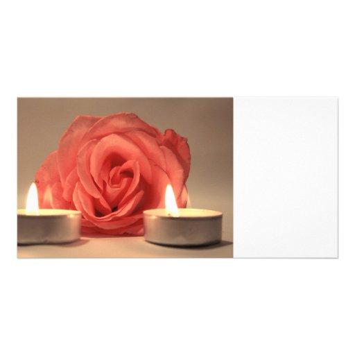 dos velas color de rosa de foto floral del rosa tarjeta fotografica personalizada