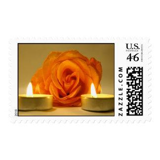 dos velas color de rosa de imagen floral amarillo-