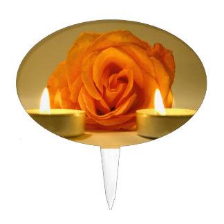 dos velas color de rosa de imagen floral amarillo- figuras para tartas