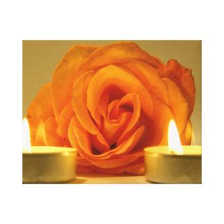 dos velas color de rosa de imagen floral amarillo- impresiones en lienzo estiradas