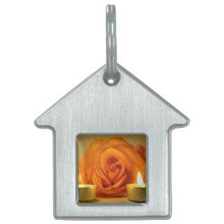 dos velas color de rosa de imagen floral amarillo- placas mascota