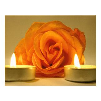 dos velas color de rosa de imagen floral amarillo- plantillas de membrete