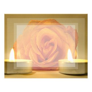 dos velas color de rosa de imagen floral amarillo- membrete personalizado