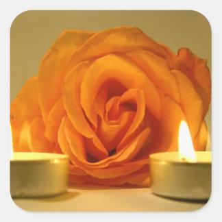 dos velas color de rosa de imagen floral amarillo- pegatina
