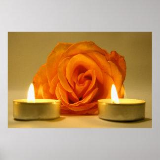 dos velas color de rosa de imagen floral amarillo- póster