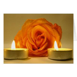 dos velas color de rosa de imagen floral amarillo- tarjeton