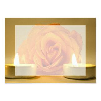"""dos velas color de rosa de imagen floral invitación 5"""" x 7"""""""