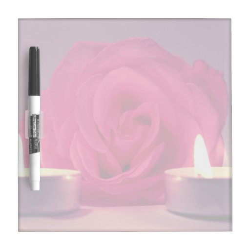 dos velas color de rosa de imagen floral rosada os pizarra blanca