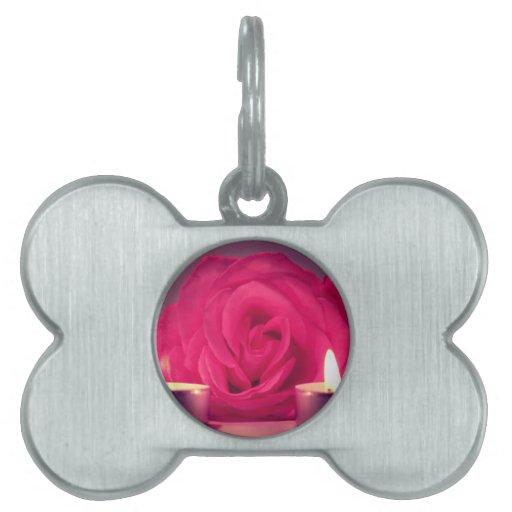 dos velas color de rosa de imagen floral rosada os placas de mascota