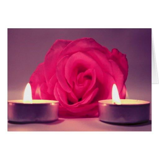 dos velas color de rosa de imagen floral rosada os felicitación
