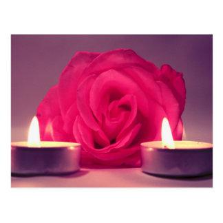 dos velas color de rosa de imagen floral rosada postal