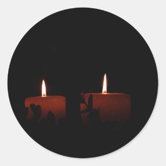 Dos velas pegatina redonda