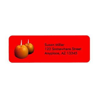 Dos velas redondas de etiqueta del remite etiquetas de remite