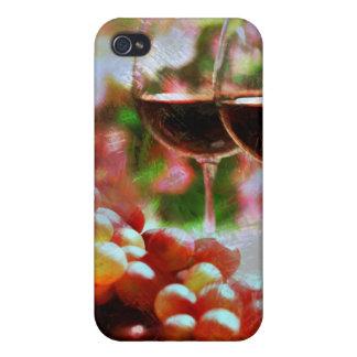 Dos vidrios de vino con las uvas iPhone 4/4S fundas