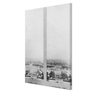 Dos vistas de la construcción de Eiffel 2 Impresiones En Lienzo Estiradas