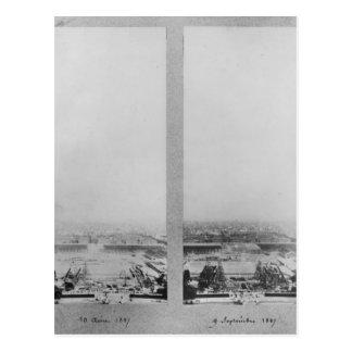 Dos vistas de la construcción de Eiffel 2 Postal