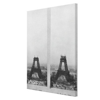 Dos vistas de la construcción de Eiffel Lienzo Envuelto Para Galerias