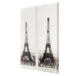 Dos vistas de la construcción de Eiffel Lona Envuelta Para Galerías